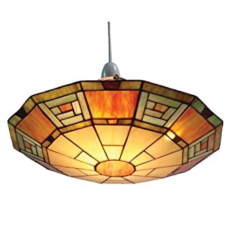 Loxton Lighting Suspension de style Tiffany Multicolore Décor égyptien 35 cm