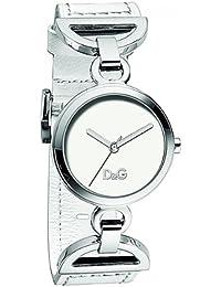 D&G Dolce&Gabbana DW0725 - Reloj analógico de mujer de cuarzo con correa de piel blanca