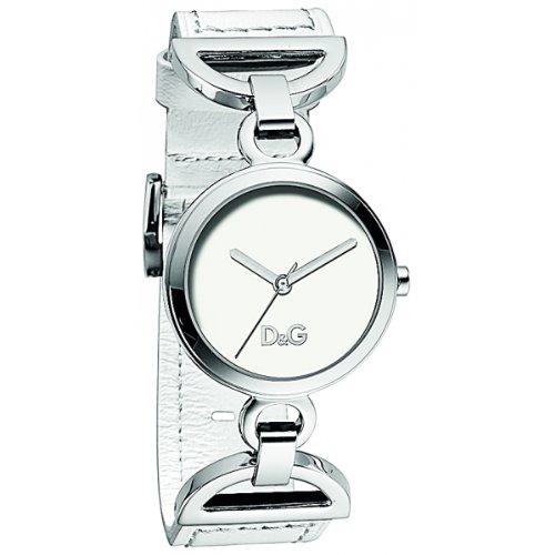 Dolce & Gabbana Women's Watch Analogue Quartz DW0725 with White Leather Strap Silver Dial