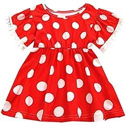 bebé niña Vestido de Lunares, Verano Vestido Borla Manga Corta Bebes niñas Princesa Vestido de Fiesta Ceremonia Rojo 6-12 Meses