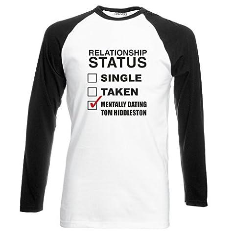 Mentally Dating Tom Hiddleston T-shirt de baseball manches longues - Blanc/Noir/Noir 2XL (119-124 cm)