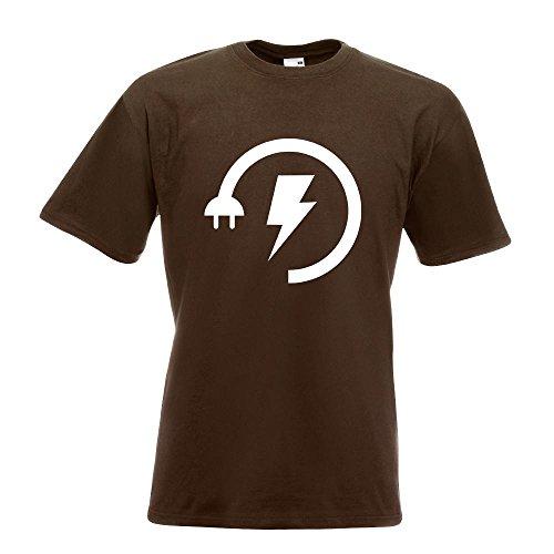 KIWISTAR - Energy Low - Electricity Boost T-Shirt in 15 verschiedenen Farben - Herren Funshirt bedruckt Design Sprüche Spruch Motive Oberteil Baumwolle Print Größe S M L XL XXL Chocolate