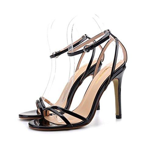 Zapatos De Tacón Alto Lgk & Fa Con Sandalias De Palabra De Punta Fina Hermosa Zapatos De Hebilla 39 Cuero De Charol Negro 10cm 32 Charol Negro 8cm