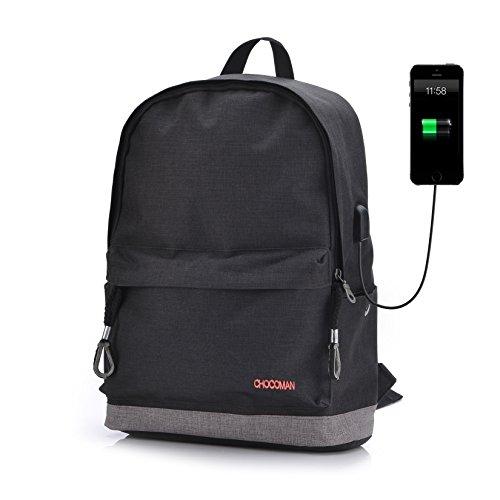 Preisvergleich Produktbild Klassischer Rucksack mit USB Anschluss 17 Zoll Laptop Notebooktasche Daypack Schultasche für Uni Arbeit Schwarz von Chocoman