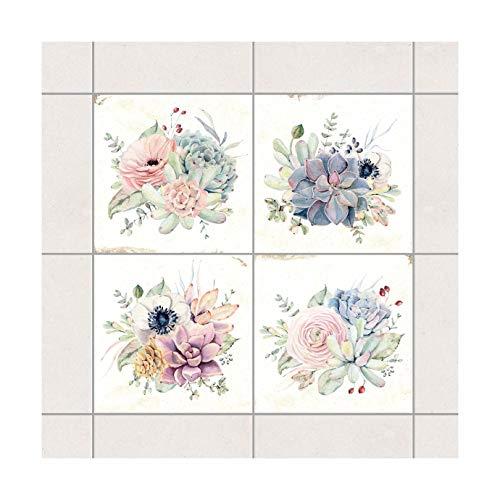 Fliesenaufkleber Aquarell Blumen Landhaus 10x10 cm Set 4teilig 10x10cm