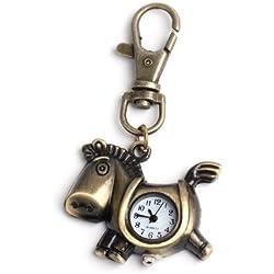 Yesurprise Antique Vintage Bronze tone Horse Pendant Quartz Chain Pocket Watch