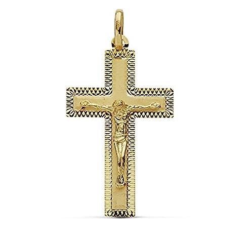 Croix pendentif 18k crucifix d'or sculpté 35mm. Grand bâton [AA7345] - 18k Crocifisso