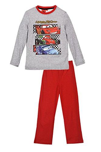 Disney Cars Lightning McQueen (2062) Kinder Pyjama aus Baumwolle, Schlafanzug Set mit Langarm Shirt und Langer Hose, Grau-Rot, Gr. 98