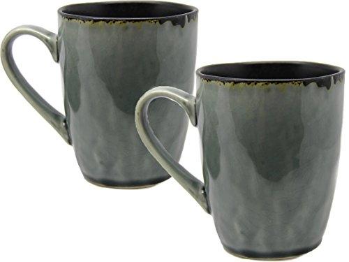 Bada Bing 2er Set Tassen Anthrazit/Schwarz Geschirr Spirit Hochwertig Kaffeebecher Kaffeetassen 30