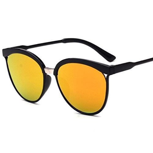 Rawdah Hombres Mujeres Cuadrados Vintage espejo gafas de sol gafas de deportes al aire libre (B)