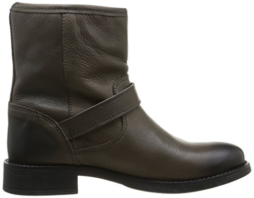 Pieces Iza Leather Zipper Boot, Boots femme Marron (Dk Grey)