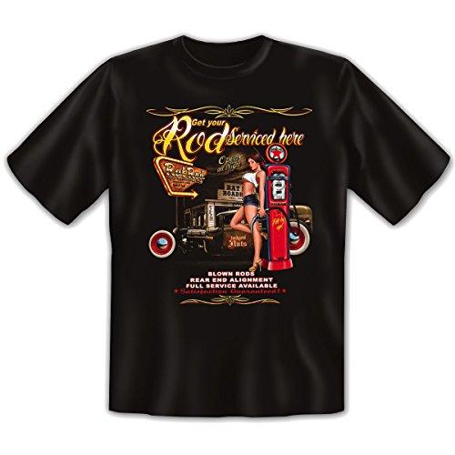 US-Car - Damen und Herren T-Shirt mit dem Motiv: rod serviced here Größe: Farbe: schwarz - von van Petersen Shirts Schwarz
