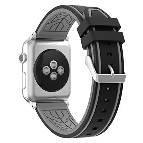 Battnot Sport Silikon Uhrenarmbänder für Apple Watch Series 1/2/3 38mm/42mm Uhrenarmband-Handgelenksriemen für Damen Mädchen Herren Einstellbar Ersatzband Adjustable Watch Band Replacement Wriststraps