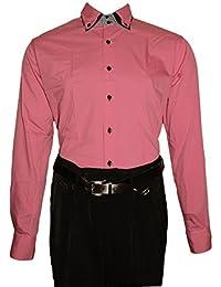 25d02a8bc7eb Designer Herren Hemd 3 Kragen 2 Knopf Herrenhemd Slim Fit tailliert Langarm  Bügelfrei Schwarz Weiß Lila…