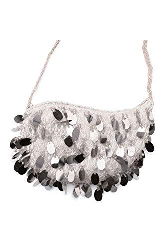 Tasche mit Pailetten Silber Charleston 20er Jahre Handtasche für Damen Karneval Fasching
