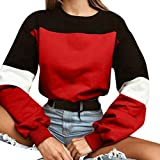 FOANA Womens Long Sleeve Splicing Farbe Sweatshirt Pullover Tops Bluse (Rot, L)