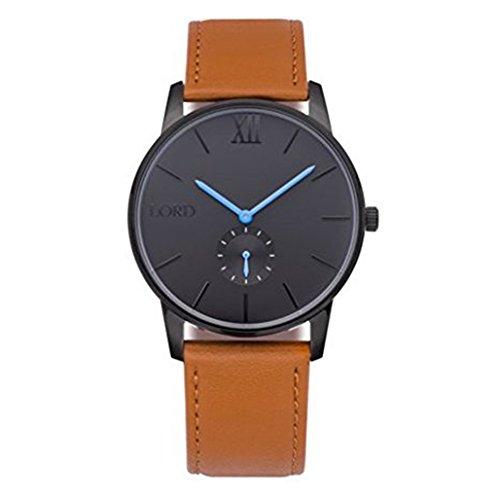 Lord Timepieces Armbanduhr, Schwarz, Blau, hellbraunes Leder.