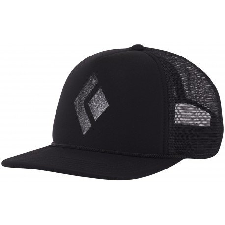 Black Diamond Flat Bill Trucker Hat - Black-White -