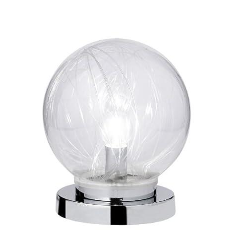 Action Tischleuchte 2-flammig, Mystic, 1x E14 / 14 Watt, 240 Volt, Höhe: 22 cm / Durchmesser 20 cm / Glaskugel mit RGB LED, inklusive Schalter, chrom 868302010200