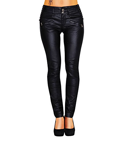Damen Bootcut Hose Leder-Optik Skinny (428), Grösse:36, Farbe:Schwarz