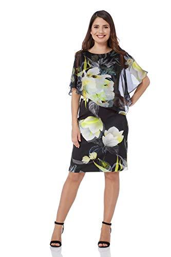 Roman Originals Damen Chiffon-Overlay-Kleid mit Blumen-Print - Damen kurzärmelige, knielange Kleider mit Schulter-Cut-Outs zum Ausgehen und für Partys, Cocktails, Limette - Größe 40