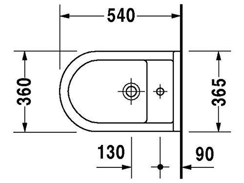 Duravit Wand Bidet Starck 3 540 mm, 1 Hahnloch, Durafix, weiss, 2280150000