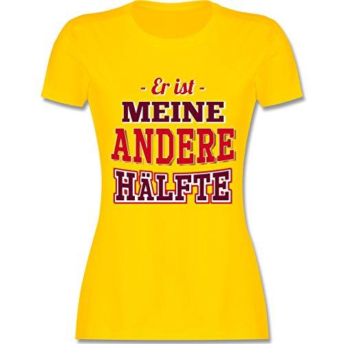 Shirtracer Partner-Look Pärchen Damen - Er ist Meine Andere Hälfte - Damen T-Shirt Rundhals Gelb