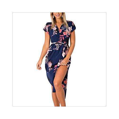Women Long Dress Floral Print Summer Boho Beach Dress Elegant Belted Party Dress Long Sleeve Shirt Dress Vestido 3XL Navy XXL -