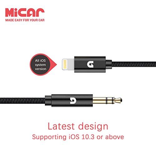 Lightning zu Aux Kabel, Micar Blitz zu 3,5 mm Aux Kabel Stecker Stereo Audio Adapter, Premium Nylon Car Aux Kabel für iPhone 7 / 7S / 8/7 Plus / 8 Plus / X und perfekt kompatibel mit iOS 10.3 / 11 und höher