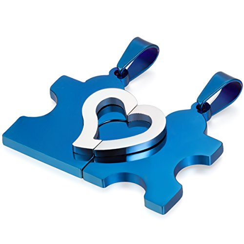 oidea 2pcs Amistad Cadenas con Colgante, corazón Puzzle Love Acero Inoxidable Colgante Collares Asociación Cadenas, Plata Azul