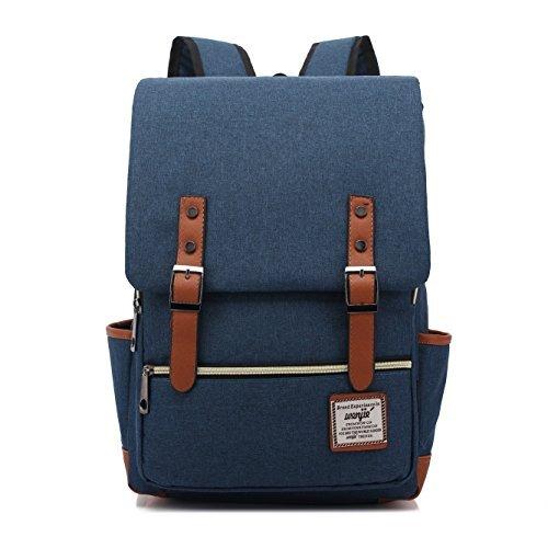 ckpack, TechCode Backpack Casual Vintage Rucksack Leinwand Laptop Computer Tasche College School Rucksack Schultern Tasche Ourdoor Weekend Travel Bag Reisetasche (Blau) ()