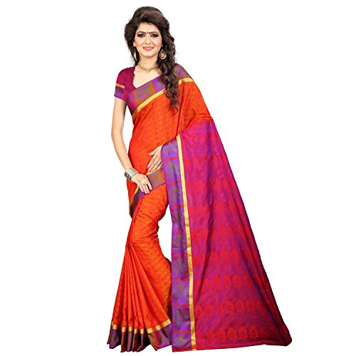 Rr And Sons Women's Silk Saree With Blouse Piece (Pmb002 Orange Meganta,...