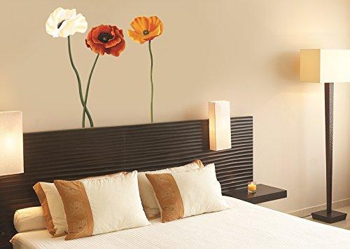 Sticker für Wand – Wandtatoos für Kinderzimmer, Wohnzimmer, Schlafzimmer, Babyzimmer - Wanddeko Modern – 1 X 70x50cm Wandsticker Deko Set Folien Polnische Mohnblume