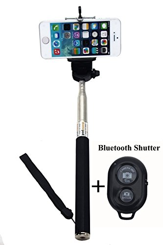 D D Accessories Black Selfie Monopod Stick with Bluetooth Wireless Remote Shutter for iPhone, Samsung, HTC, etc Smartphones (Android and IOS Systems)(Color May Vary)  available at amazon for Rs.130