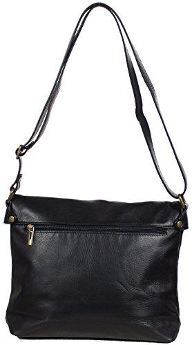 Italienische Damentasche Umhängetasche Damen Lederhandtasche aus weichem Leder (31 x 22 x 9 cm) Schwarz Schwarz