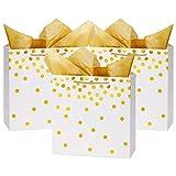 Loveinside Dots Foil Gift Bags - Sacchetto Regalo In Carta Bianca Con Foglia D'Oro Con Carta Velina Per Matrimoni, Regalo Di Compleanno-12 Pezzi -30,5 X 12,8 X 30,5 Cm