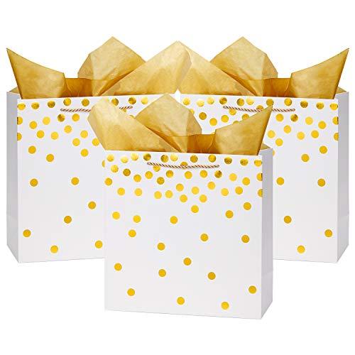 Loveinside Punkte-Folien-Geschenk-Beutel - Goldfolie-Weißbuch-Geschenk-Tasche Mit Seidenpapier Für Hochzeit, Geburtstag Geschenk-12Pack -30.5 X 12.8 X 30.5Cm