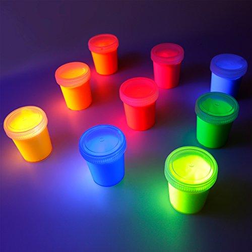 decomonkey | Fluoreszierende Schwarzlicht Wandfarbe und für Kunst, Holz, Papier und Wohnraum | Neonfarbe für Kleidung und Stoffe | Leuchtfarben mit Glow-Effekt | Fluoreszierende Farbe | Komplettes Set 9 x 100ml