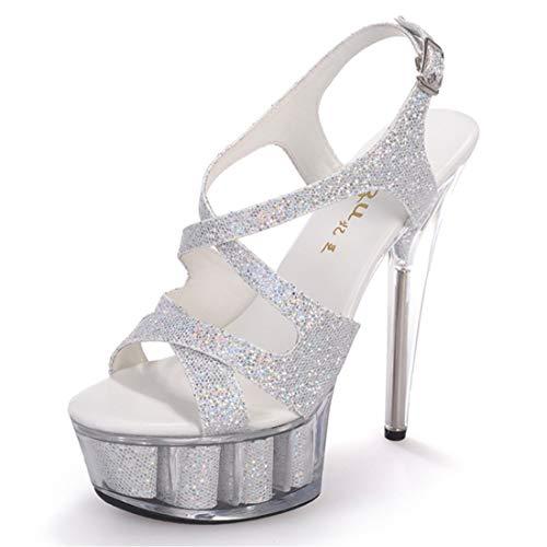WQQXXX Damen Kristall Hochzeit 15 Zentimeter Kleid Catwalk Stiletto Modell Sexy Open Toe Silber Show Super High Heel Sandalen,Silver-EU38 -