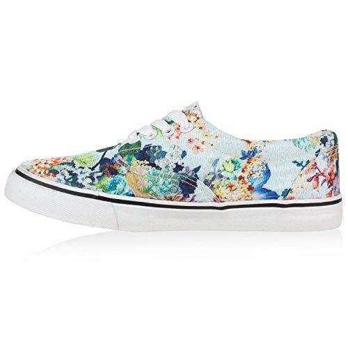 Flache Damen Sneakers Low Bunte Blumen Prints Hellblau