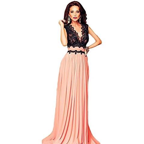 Donna elegante Peach & pizzo nero pavimento lunghezza abito prom Cruise Abito da sera Abbigliamento Taglia M 10–12