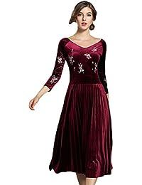 YiLianDa Donna Vestiti Cerimonia Autunno Invernali Velluto Elegante Abito  Manica Lunga Abiti Partito Cocktail Lunghi Vestito cce1f20ab5a