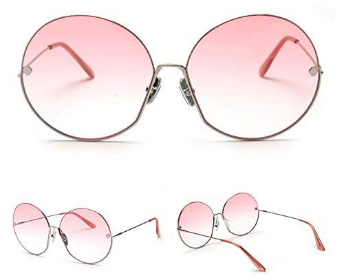WSKPE Sonnenbrille,Mode Die Getönte Farbe Objektiv Sonnenbrille Runde Sonnenbrille Frauen Big Shades Uv400 Silber Rahmen Rosa Farbverlauf Linse