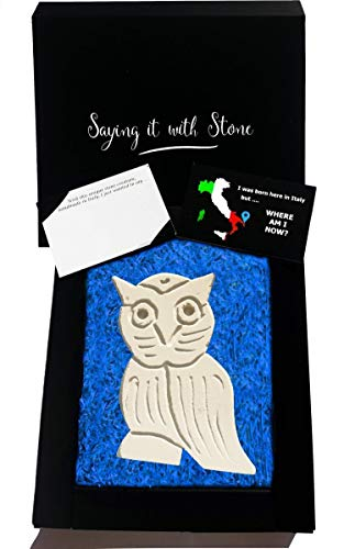 Handmade in Italy Stone Grandad Owl - Symbol of Wisdom, Truth, Attention to Detail, Honor & Intuition - Gift Box & Blank Message Card Included - Gift Idea for Graduation Teachers Retirement Granny