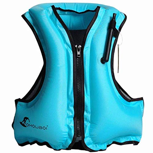 OMOUBOI Gonfiabile Portatile Gilet Galleggiante per Adulti,Floatage Vest,Nuoto, Boccaglio, Nuoto. Surf, Immersioni, Canottaggio, Kayak, Canyoning (Blue)
