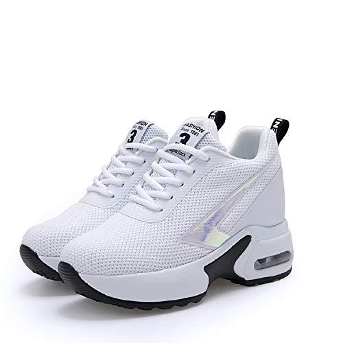 AONEGOLD Sneakers con Zeppa Interna Donna Scarpe da Ginnastica Sportive Casuale Tacco 8 cm(Bianco,37 EU)