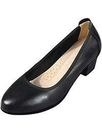 WKNBEU Sandalias De Tacón Cuadrado De Cuero De Las Mujeres del Verano del Dedo del Pie del Negro del Trabajo del...