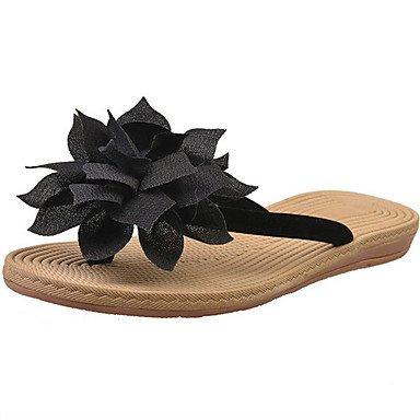 LvYuan Sandalen-Kleid Lässig-Stoff-Flacher Absatz Keilabsatz-Komfort-Schwarz Beige Black