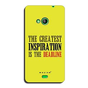 Mozine Deadline Is Inspiration printed mobile back cover for Nokia lumia 535