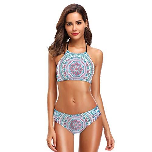 Medallion Design Floral Patterns and Leaves Boho Hippie Style Prints Women's Beach Bikini 2 Piece Swimsuit XL -